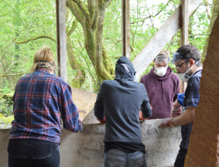 Putting hempcrete into a former