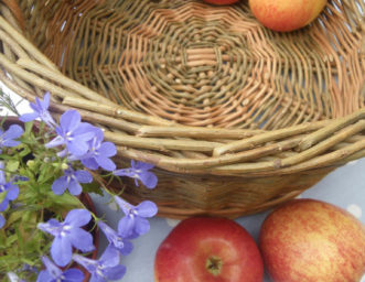 flat-bottomed willow basket