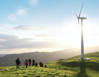 Sustainable Energy students on a morning walk to the turbines at CAT
