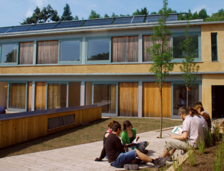 Students outside the Wales Institute of Sustainable Education
