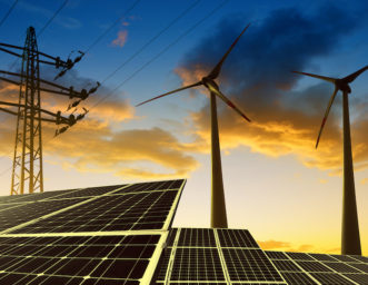 wind turbine, pv panels and power lines