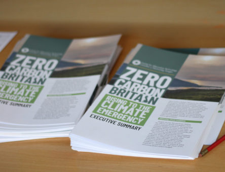 Image showing the Zero Carbon Britain: Rising to the Climate Emergency report on a table
