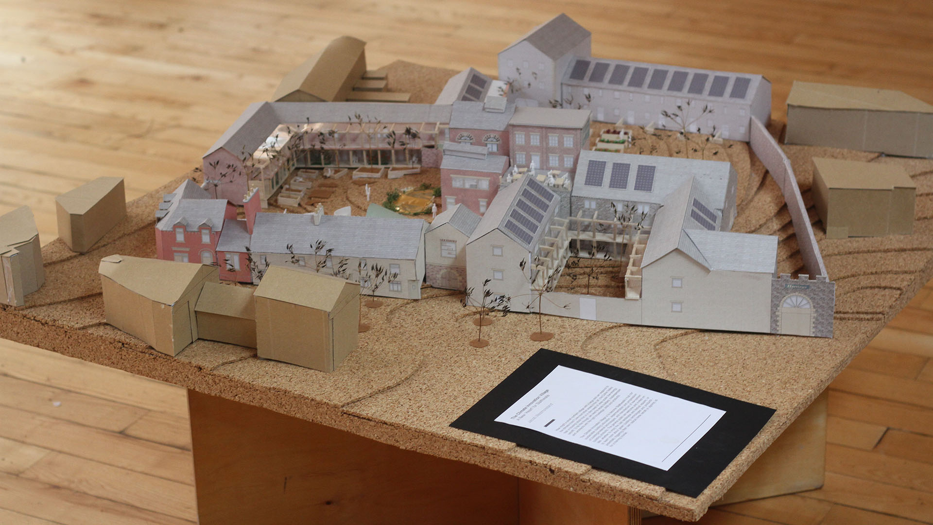 Cardboard model of buildings made by a CAT architecture student