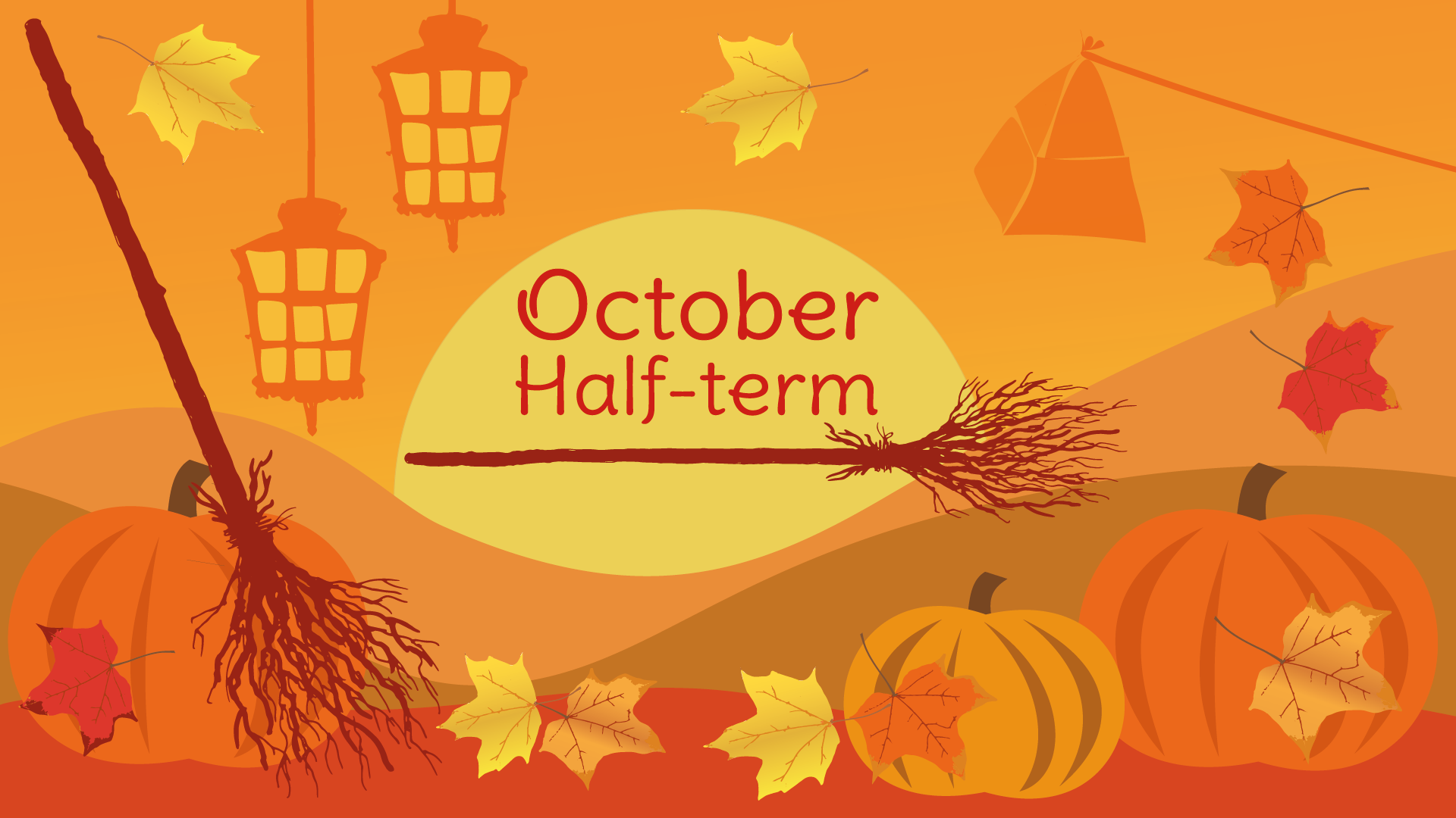 Broomsticks and Autumn imagery with the text October Half-term